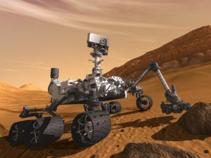 Artist's rendering of the Curiosity rover on Mars