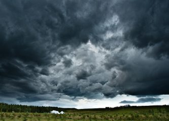 Dark clouds of a brewing storm over Iceland