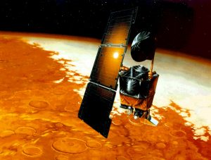 An artist's concept of NASA's Mars Climate Orbiter