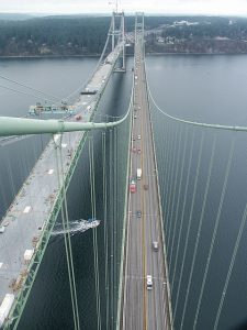 The modern Tacoma Narrows Bridge