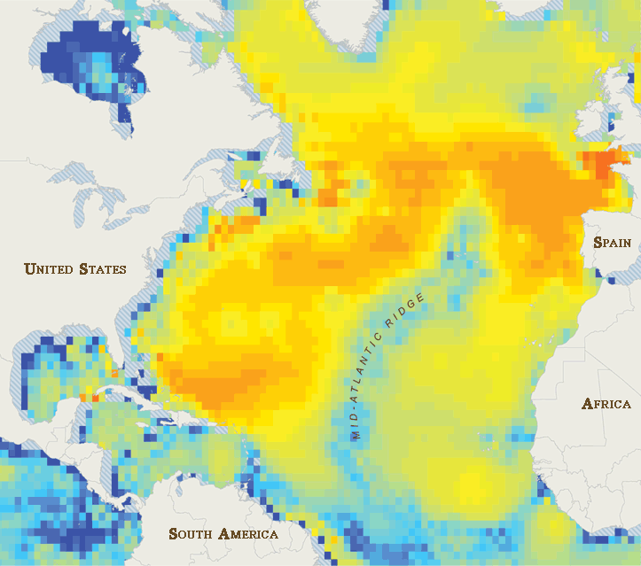 Map of Shipping Noise in Atlantic Ocean