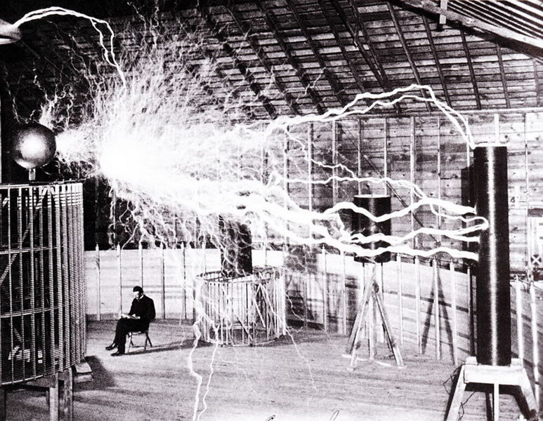 A double exposure image of Nikola Tesla under lightening
