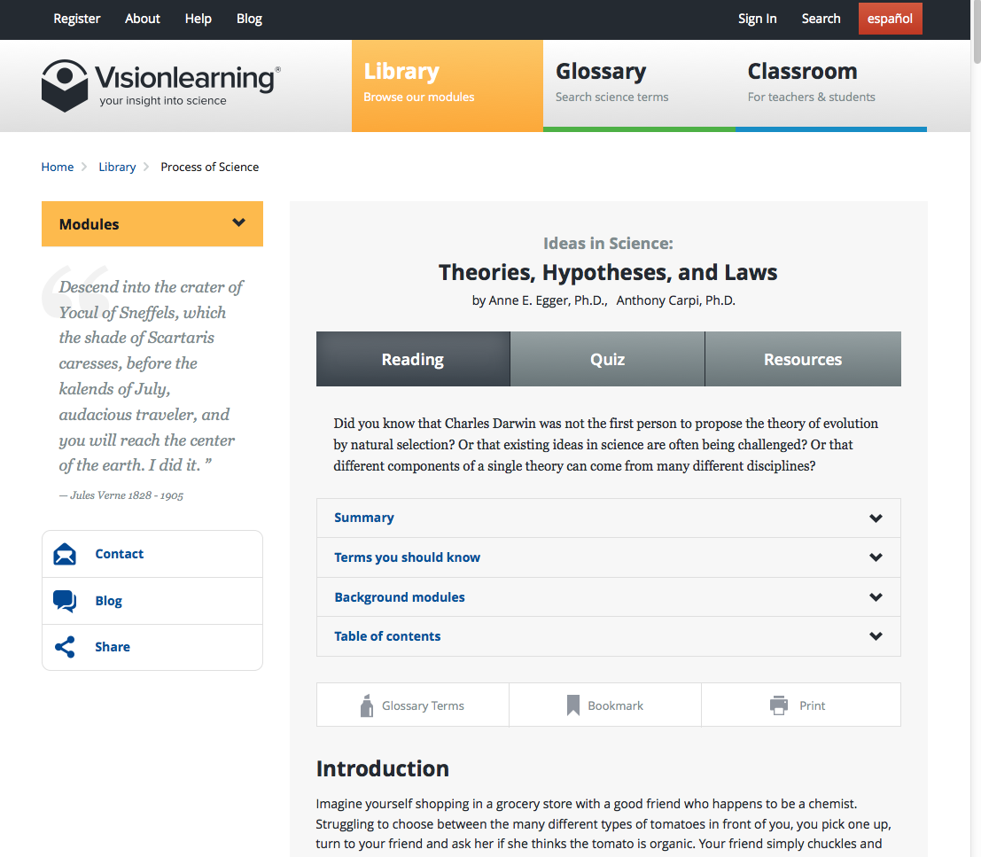 Mock-up of RedesignedNew Visionlearning Module
