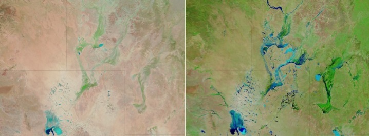 Heavy rains transformed parts of Queensland between September 2009 and March 2011. (Source: NASA image courtesy LANCE MODIS Rapid Response)