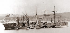 The Great Eastern, the ship which laid the first permanent cable in 1866. Source: Robert Edward Holloway, public domain.