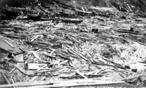 Destruction in Newfoundland following the Grand Banks tsunami. Source: Provincial archives, Newfoundland Labrador Department of Natural Resources.