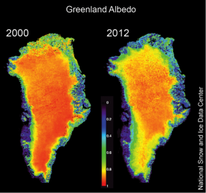 Map of Greenland albedo, 2000-2012