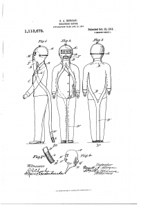The Safety Hood: US Patent number 1,113,675, issued in 1914. The hood completely covered the head and had a long tube that could be placed out the reach of fumes, a filter to keep out dust particles, and a separate tube for exhaled air. (Accessed via Google Patent Search)