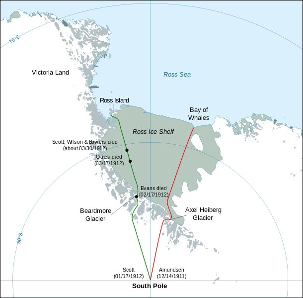 The routes taken by the British crew led by Robert Falcon Scott and the Norwegian crew led by Roald Amundsen.
