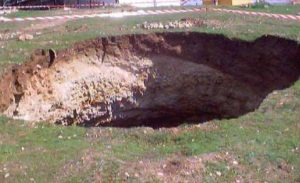 Because limestone is soluble, it is eroded by groundwater, leading to sinkholes. (Credit: Wikimedia Commons, US Army Corps of Engineers)