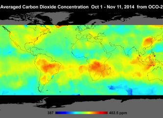 Global atmospheric carbon dioxide concentrations from Oct. 1 through Nov. 11, as recorded by NASA's Orbiting Carbon Observatory-2.  Image credit: NASA/JPL-Caltech