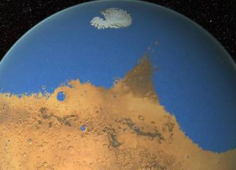 Artist's rendition of a primitive ocean on Mars. ©NASA/GSFC