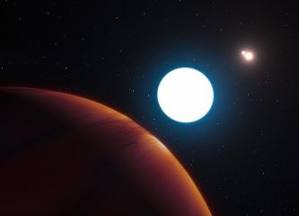 An artist's impression of the planet (lower-left) as it faces the three stars in its system. (Credit: ESO/L. Calçada/M. Kornmesser)