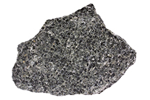 Pyroxene is one of the dominant minerals in this sample of gabbro