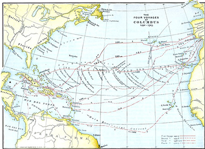Map showing Christopher Columbus' routes across the Atlantic