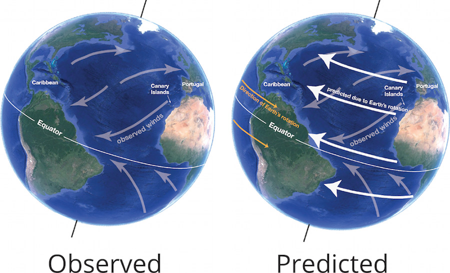 Observed versus predicted winds based on Earth's rotation
