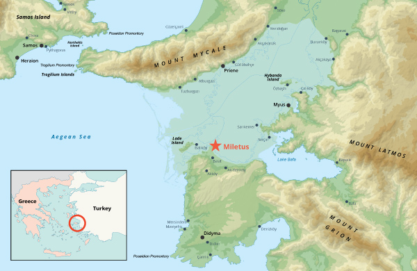Location of Miletus on the western coast of Anatolia