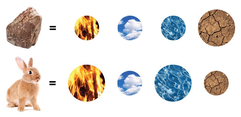 Empedocles theorized that all matter was composed of four elements: fire, air, water, and earth