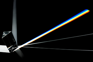 A prism displays the color spectrum