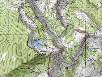 topographic map - Warren Peak USGS 7.5'