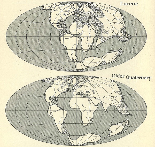 Wegener's map eocene to present